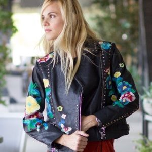 Asos Embroidered Leather Jacket With Studs